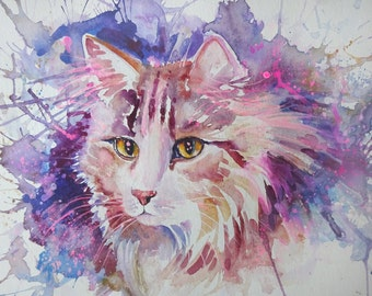 Abstract watercolour painting of a tabby cat