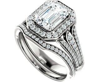 1.50 ct Forever Brilliant Moissanite Diamond Wedding Set, Bridal Sets for Women, Moissanite Bridal Sets, Moissanite Sets, Anniversary Rings