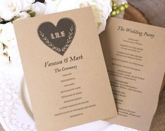 Printable Wedding Program Template, Kraft Paper Program, DIY Program - Instant DOWNLOAD - EDITABLE Text - Rustic Heart, 5x7