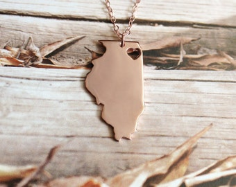 Rose Gold Illinois State Necklace,IL State Charm Necklace,State Shaped Necklace,Personalized Il State Necklace With A Heart-%100 Handmade