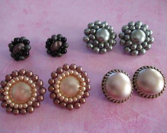 Vintage earrings, vintage earring lot , vintage pearl , vintage silver, earring lot,
