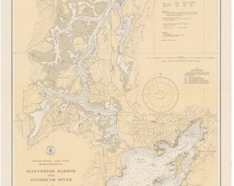 Gloucester Harbor and Annisquam River Map 1935