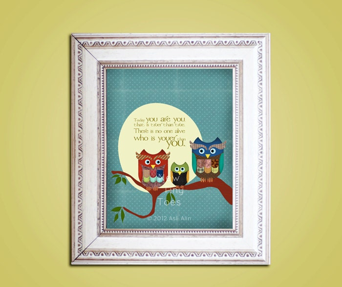 Owls Art Print Dr.Seuss quote Childrens Art Prints Nursery
