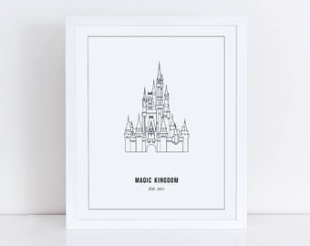Magic Kingdom Castle Print Outline | Disney World Orlando, Florida |  Cinderella's Castle | Printable | Instant Download | 8x10 JPG