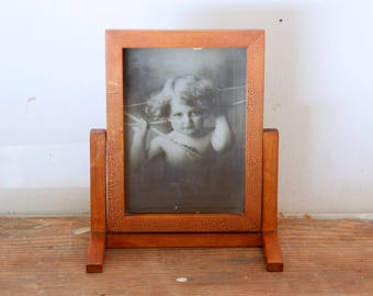 Antique Wooden Picture Frame Hinged Swivel Wood Frame with Glass and Old Photo Table Top Picture Frame