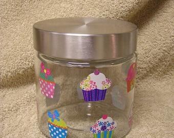 Sparkling Cupcake Party Glass Jar Decor