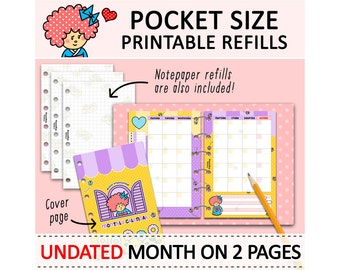 PRINTABLE Pocket Size Month On Two Pages & Notepaper Cute Kawaii Kokeshi for Filofax Organizer Planner Instant Download