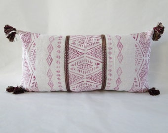 Global Inspired, Throw Pillow cover, Tassels ,Burgundy,Pink,Embroidered trim,Rustic Modern, Boho decor,Block Printed,Triangles, Drop Cloth C