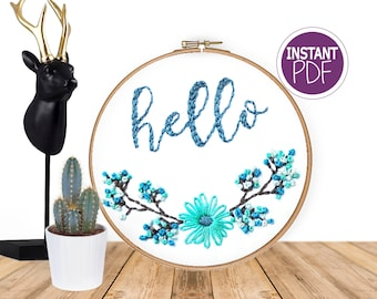 Floral Embroidery Pattern Instant PDF, Hello - embroidery design, Flower hand embroidery chart - Embroidery pdf by Peppermint Purple