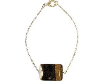 Tiger's Eye Rectangle Silver Bracelet