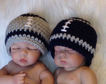Twin Baby Boy Football Team BEANIES - ANY COLORS - Newborn - Reborn Doll