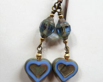Love - Blue Hearts and Czech Glass Niobium Earrings - BeadedTail - Amor - Anniversary
