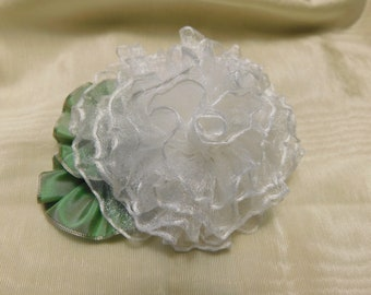 White Sheer Rose Ribbon Flower Applique