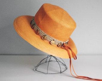 Orange Straw Hat, Adolfo II Broad Brimmed Hat, 1970s Mod Hat, Beach Sun Hat, Summer Fashion, Saks Fifth Avenue