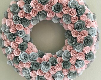 Paper flowers/Baby pink flowers/grey flowers/pink and grey wreath