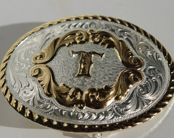 Vintage ceinture boucle Montana Silversmiths Silver plaque initiale T Columbus MT