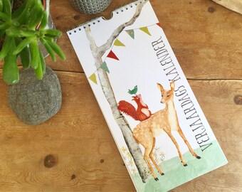Perpetual birthday calendar - Animal illustrations  - wall calendar