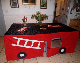 Custom made Fire Engine /Pompiers Tablecloth playhouse
