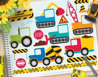 Construction Vehicles Clipart, scraper, digger, delivery trucks, cement mixer, tractor, Commercial Use, Vector Clipart, SVG Cut File