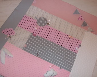 Carpet educational or Park, dots, stars; shades of pink and grey, to order