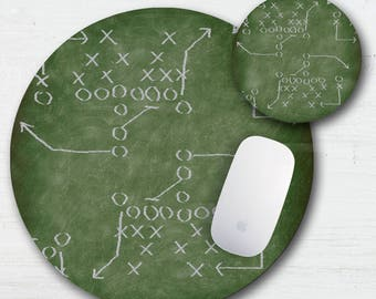 Football Plays Mouse Pad Coaster Set - Football Fan - Soccer - Rugby - Sports Plays - Thick Mouse Pad - Computer Mouse Pad - Sports Coasters