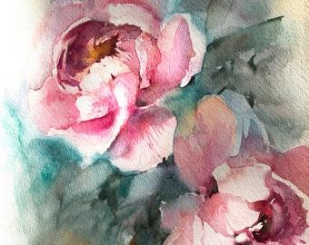 Pink Peonies fine art print, flowers watercolor painting art, pink floral modern botanical wall art print