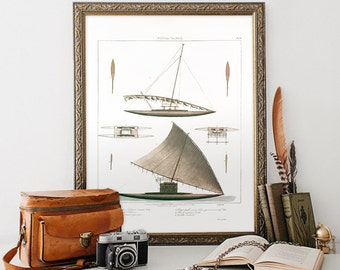 Vintage Natural History Print, Boat Art Print, Vintage Home Decor Reproduction, Boat Illustration Reproduction. Minimalist Home Decor N03