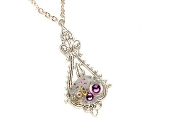 FEBRUARY Steampunk Necklace AMETHYST Steampunk Watch Necklace PURPLE Antique Silver Victorian Steampunk Jewelry by Victorian Curiosities