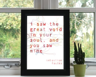 I Saw the Void in your Soul Print // Embroidery // A4 Print // Inspirational Quote //Illustration // Wall Art // Unframed // Quote