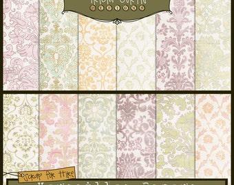 Versailles Adele Digital Scrapbook Papers for Invitations, Card Making, Digital Scrapbooking - Instant Download