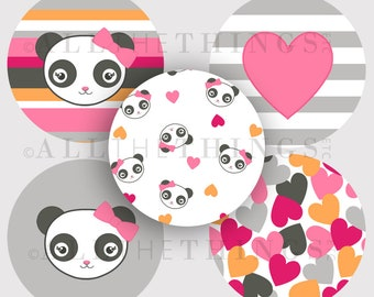 CLEARANCE!  PANDA ACADEMY Bears Graphics Images Clip Art Designs One & Two Inch Circle Bottle Cap Printable m2mg - Instant Digital Download