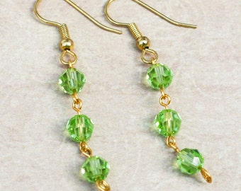 Peridot green Swarovski crystal beaded earrings