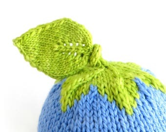 Neon Blueberry Hat - Soft Hand Knit - Toddler size - Made to Order