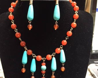 Carnelian and Turquoise Howlite Beaded Empress Necklace