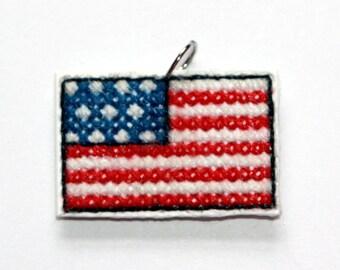 American Flag Cross Stitch Pendant