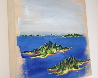 Original Landscape Art Landscape Painting Ocean Art 8X8 in. Art on Wood Panel Maine Landscape Painting On Wood Wall Art Seascape Painting