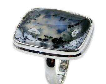 Dendritic Opal Ring, 925 Sterling Silver Ring Size 6 , AF654 Jewelry