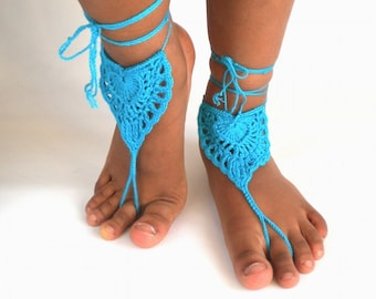 Turquoise barefoot sandals, beach shoes, crochet barefoot sandals, teal heart, pink sandals
