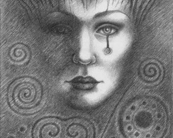 The Land Dreaming, ORIGINAL drawing, ooak mystical art archaeology ancient Goddess earth spirit sacred symbolism, detailed pencil art A4