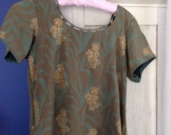 Silk Asian Knee Length Tunic with Long Side Slits and Metallic Gold Florals. Size S