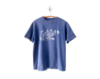 """50% of Proceeds go to Planned Parenthood! Vintage """"Earthshine"""" T-Shirt, Vintage Navy Blue T-Shirt, Extremely Wholesome 90's Tee, Size M/L"""