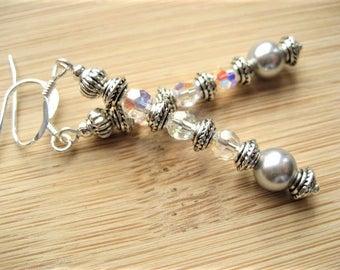 Earrings, Vintage Inspired Swarovski Crystal & Pearl Drop Earrings. Silver Hooks, Pierced, Ladies Jewellery . UK Handmade