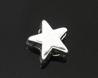 PM92 - Set of 20 smooth star beads silver plated 6mm PM92