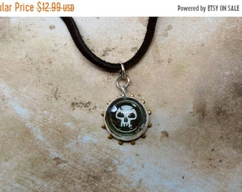 SPRING SALE MTG necklace Magic the Gathering black mana geekery gaming skull necklace black leather cord