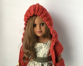 "18"" Doll HOODED POCKET SCARF.  Crocheted Hooded Scarf.  Doll Scarf. Doll Accessories.  Crocheted Doll Scarf.  Fits American Girl Doll."
