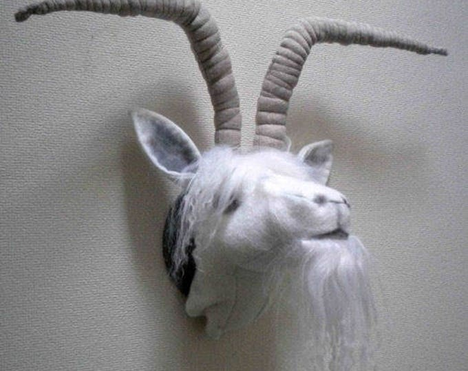JJX914E – Goat with Horns  – Trophy Head - PDF Cloth Animal Doll Sewing Pattern