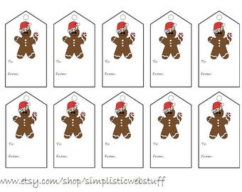 Autism Gingerbread Man Christmas Gift Tag