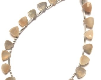 Natural Gemstone Super Fine Quality White Moonstone Faceted Trillion Shape 6 to 7MM Briolettes 8 Inch Full Strand Hand Polished Beads