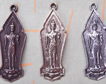 2 Tibetan Buddha in a Protection Gesture Charms in Your Choice of Metal - Copper, Gold, Silver     (JWL)