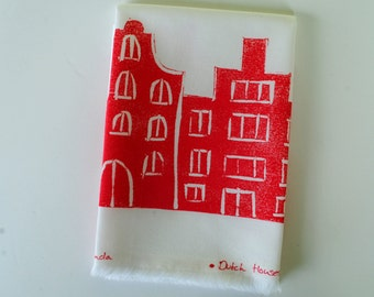 Dutch Houses Red on White - Handprinted Fabric - Fat Quarter